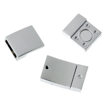 "1pc  Zinc Based Alloy Magnetic Clasps Rectangle Silver Tone 21mm( 7/8"") x 13mm"