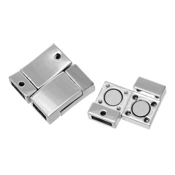 "1pc Zinc Based Alloy Magnetic Clasps Rectangle Silver Tone 17mm( 5/8"") x 9mm( 3/8"")"