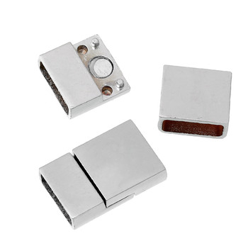 """1pc Zinc Based Alloy Magnetic Clasps Rectangle Silver Tone 23mm( 7/8"""") x 15mm( 5/8""""),"""