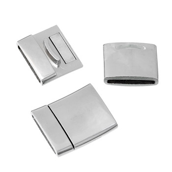 """1pc  Zinc Based Alloy Magnetic Clasps Rectangle Silver Tone 27mm(1 1/8"""") x 23mm( 7/8"""")"""