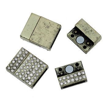 "1pc  Zinc Based Alloy Magnetic Clasps Rectangle Antique Bronze Clear Rhinestone 20mm( 6/8"") x 17mm( 5/8""),"