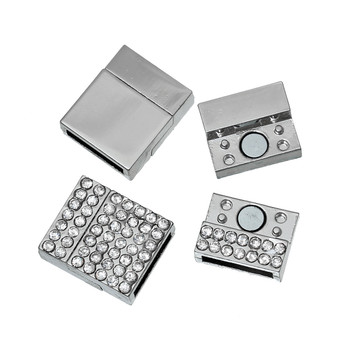 "1pc  Zinc Based Alloy Magnetic Clasps Rectangle Antique silver Clear Rhinestone 20mm( 6/8"") x 17mm( 5/8""),"