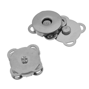 "1pc Magnetic Snap Clasps For Purse Handbag Flower Silver Tone 19mm( 6/8"") x 19mm( 6/8""),"
