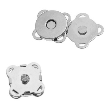 1pc Magnetic Snap Clasps For Purse Handbag Flower Silver Tone 11mm