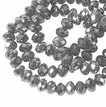 Metallic Antique Silver Faceted 10mm Rondelle Beads 55 Pc Glass Crystal Beads B2-Uc4B16