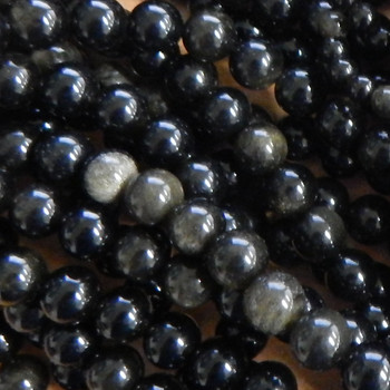 "6mm Black Golden Sheen Obsidian Natural Round Beads 40Cm 15"" Stone 1B-8B25"