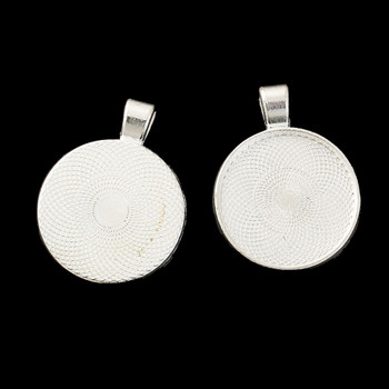 Zinc Based Alloy Pendants Round Silver Plated Cabochon Settings (Fits 25mm Dia.) 36mm x 28mm, 10 PCs