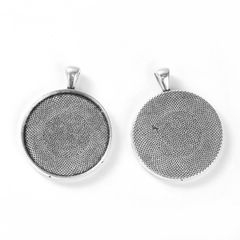 Zinc Based Alloy Pendants Round Antique Silver Cabochon Settings (Fits 30mm Dia.) 42mm x 33mm, 5 PCs