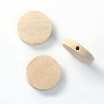 Natural Hinoki Wood Spacer Beads Flat Round About 20mm Dia, Hole: Approx 2.4mm, 50 PCs