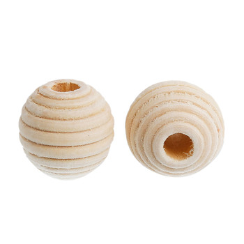 Natural Hinoki Wood Spacer Beads Round Stripe About 21mm x 20mm, Hole: Approx 6mm, 30 PCs