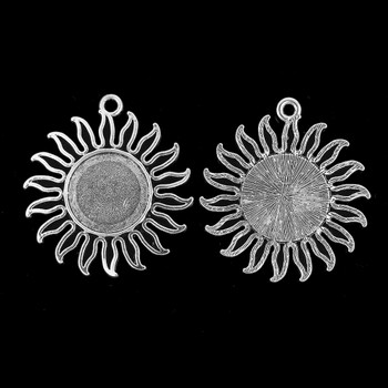 Zinc Based Alloy Pendants Sun Antique Silver Cabochon Settings (Fits 20mm Dia.) 46mm x 42mm, 10 PCs