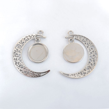 Zinc Based Alloy Pendants Crescent Moon Double Horn Silver Tone Round Cabochon Settings (Fits 14mm Dia.) 41mm x 34mm, 5 PCs
