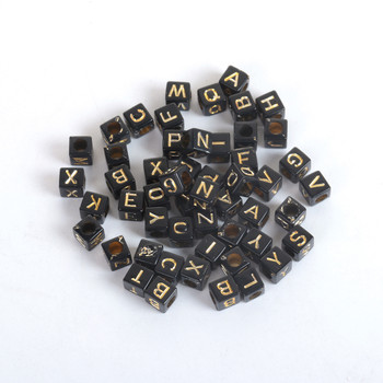 Acrylic Beads Square Black & Gold At Random Initial Alphabet/ Letter Pattern About 6mm x 6mm, Hole: Approx 3.4mm, 500 PCs