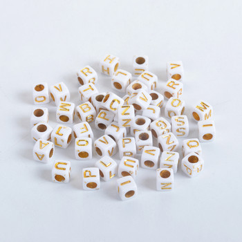 Acrylic Beads Square White & Gold At Random Initial Alphabet/ Letter Pattern About 6mm x 6mm, Hole: Approx 3.4mm, 500 PCs