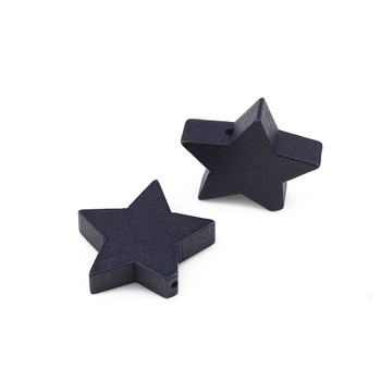 Wood Spacer Beads Pentagram Star Blue Black About 20mm x 17mm, Hole: Approx 1mm, 30 PCs