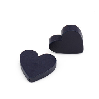 Wood Spacer Beads Heart Blue Black About 21mm x 19mm, Hole: Approx 1.1mm, 30 PCs