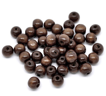 Wood Spacer Beads Round Coffee About 10mm x 9mm, Hole: Approx 3mm, 200 PCs