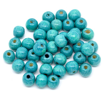 Wood Spacer Beads Round Blue About 10mm x 9mm, Hole: Approx 3mm, 200 PCs