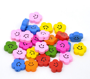 Wood Spacer Beads Flower At Random Cute Smile Face Pattern About 20mm x 20mm, Hole: Approx 2mm, 50 PCs
