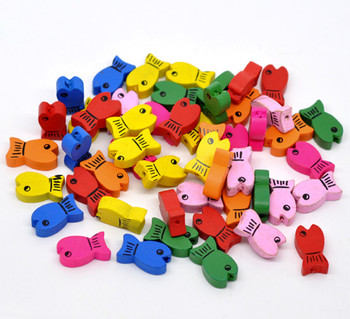 Wood Beads Cute Fish At Random About 19mm x 11mm, Hole: Approx 2mm, 100 PCs