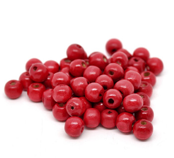 Red Dyed Round Wood Spacer Beads 10x9mm, sold per packet of 200