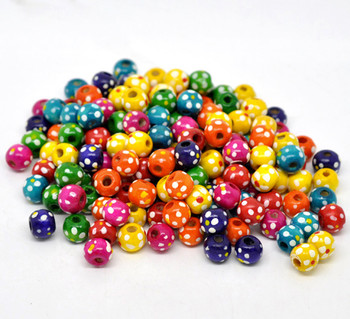 Wood Spacer Beads Round At Random Dot Pattern About 10mm x 9mm, Hole: Approx 3.6mm, 300 PCs