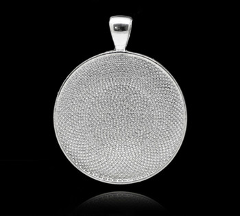 Zinc Based Alloy Cabochon Setting Pendants Round Silver Plated (Fits 30mm Dia) 4.1cm x 3.3cm, 5 PCs