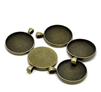 Zinc Based Alloy Cabochon Setting Pendants Round Antique Bronze (Fits 30mm Dia.) 4.1cm x 3.3cm, 5 PCs