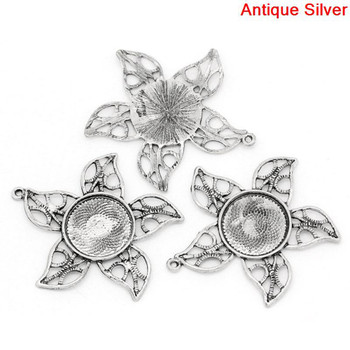 Zinc Based Alloy Cabochon Setting Pendants Flower Antique Silver (Fits 20mm Dia.) 5.1cm x 5cm, 5 PCs
