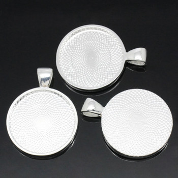 Zinc Based Alloy Cabochon Setting Pendants Round Silver Plated (Fits 25mm Dia.) 36mm x 28mm, 10 PCs