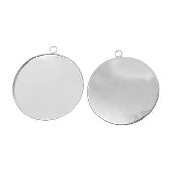 Zinc Based Alloy Cabochon Setting Pendants Round Silver Tone (Fits 30mm Dia.) 3.4cm x 3.1cm, 20 PCs