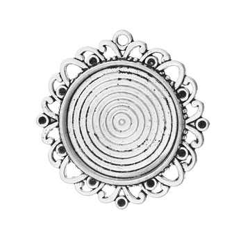 Zinc Based Alloy Cabochon Setting Pendants Round Antique Silver (Fits 25mm Dia, Can Hold ss6 Rhinestone) 4cm x3.9cm, 20 PCs