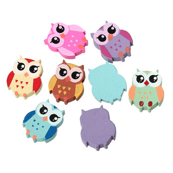 Wood Spacer Beads Owl Halloween At Random About 21mm x18mm - 20mm x16mm, Hole: Approx 1.7mm, 100 PCs