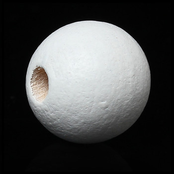 Wood Spacer Beads Round White About 20mm Dia, Hole: Approx 3.5mm - 3mm, 50 PCs