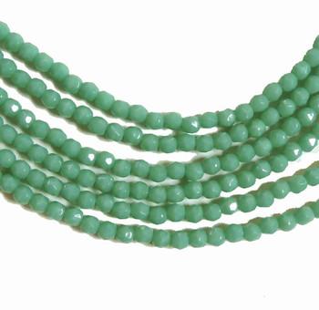 Light Opaque Green 3mm Faceted FirePolished Czech Glass 48 Beads