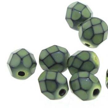 25 FirePolish 6mm Snake Lime Czech Glass Beads Fire Polished