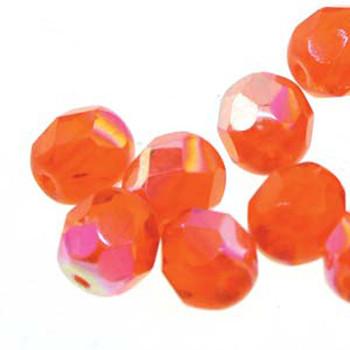 25 FirePolish 6mm Round Hyacinth Ab Czech Glass Beads Fire Polished