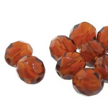 25 FirePolish 6mm Round Smoked dk Topaz Czech Glass Beads Fire Polished