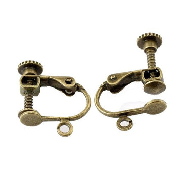 "10 Pairs Antique Brass Gold Clip on Screw Earring Findings with Open Loop 17x14mm 5/8"" X 4/8"""