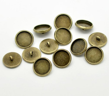 50 Antiqued Brass Plated Cabochon Setting Bezel Cup Buttons 14mm Outside 12mm Inside Cup Sold Per 50 Rb17310