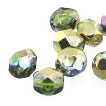 20 FirePolish 8mm Magic Vlt- Green Czech Glass Beads Fire Polished