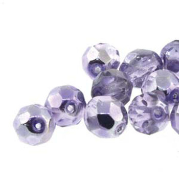 20 FirePolish 8mm Rd Mirrored Violet Czech Glass Beads Fire Polished