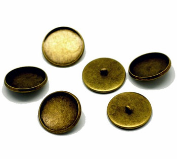 20 Antiqued Brass Plated Cabochon Setting Bezel Cup Buttons 22mm Outside 20mm Inside Cup Sold Per 20 Rb17428