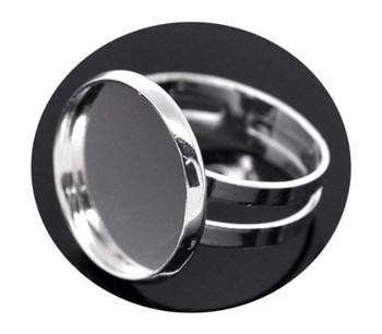 Silver Plated 16 7mm Bezel Cup Ring Settings Adjustable Us 6 75 Or Larger Fit 16mm Cabochon Sold Per 20 Rb13951