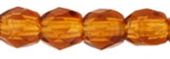 48 FirePolished Faceted Czech Glass Beads 3mm Dark Topaz