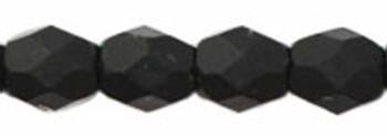 48 FirePolished Faceted Czech Glass Beads 3mm Matte Jet Black