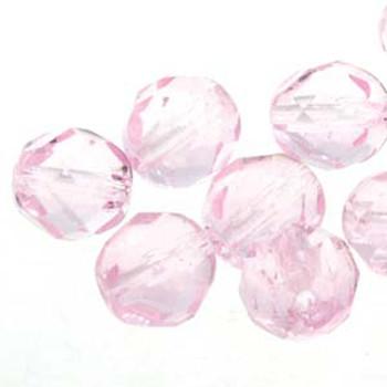 38 FirePolish 4mm Round Pink Czech Glass Beads Fire Polished