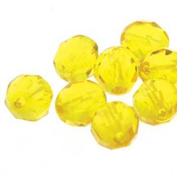 38 FirePolish 4mm Rd Yellow Amber Czech Glass Beads Fire Polished