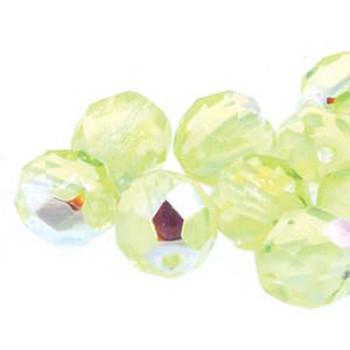 38 FirePolish 4mm Round Jonquil Ab Czech Glass Beads Fire Polished