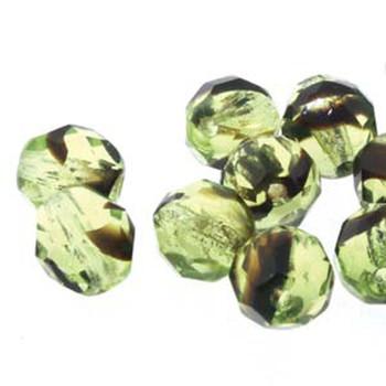 38 FirePolish 4mm Rd Green Tortoise Czech Glass Beads Fire Polished